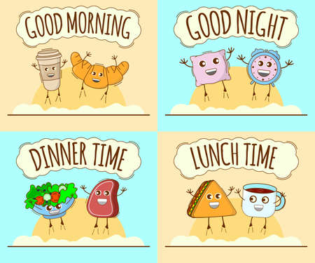 Set of Day Icon. Good Morning, Good Night, Dinner Time, Lunch Time Banner. Cute Character, Concept Label. Cartoon Vector Illustration.