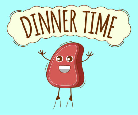 Dinner Time Banner, Meat Icon. Cute Character, Concept Label. Cartoon Vector Illustration.