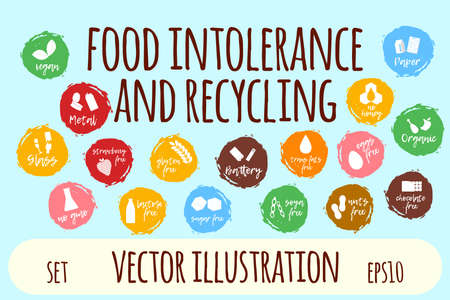 Food Intolerance Label and Icon Set. Cartoon Vector Illustration.