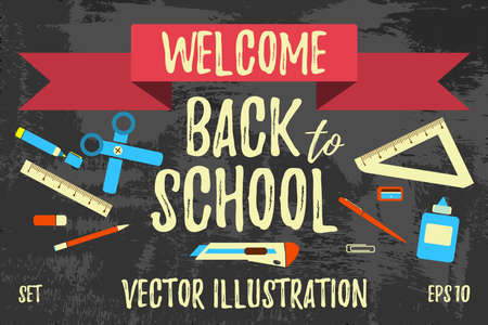Welcome Back to School  Label and Icon. Cartoon Vector Illustration. Çizim