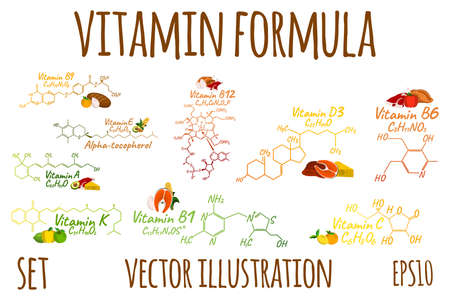 Vitamin complex with Formula Label and Icon. Cartoon Vector Illustration.
