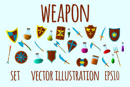 Weapon and Flask Set Icons. Cartoon Vector Illustration.