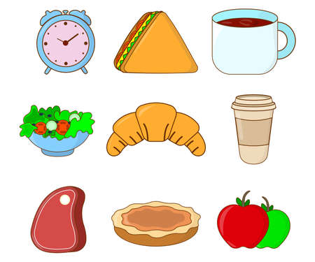 Food Icon set. Cute Concept Label. Cartoon Vector Illustration.