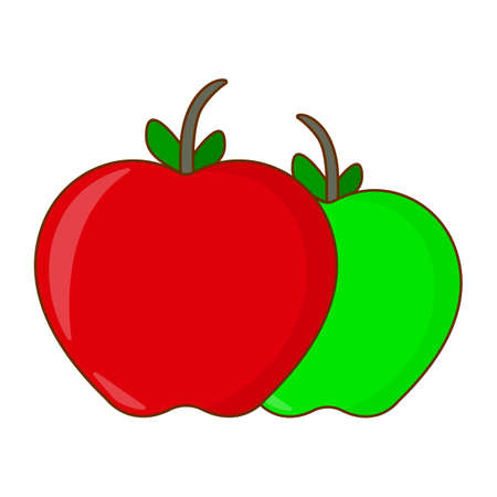 Green and Red Apple Icon. Cute Concept Label. Cartoon Vector Illustration.