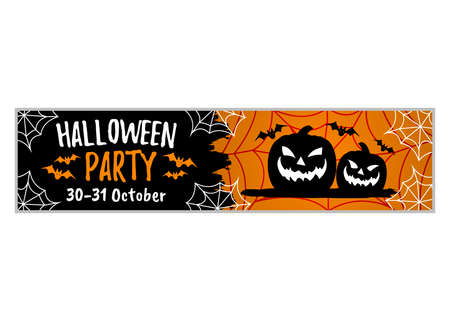 Happy Halloween Party 30-31 of October. Concept Label, Banner, Art, Icon. Cartoon Vector Illustration.