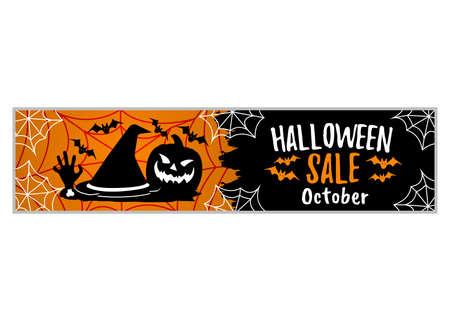 Happy Halloween Party in October, Sale. Concept Label, Banner, Art, Icon. Cartoon Vector Illustration. Иллюстрация