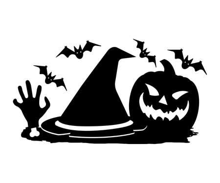 Dead mans hand, Witch Hat, Jack lantern on Brush. Happy Halloween. Concept Label, Banner, Art, Icon. Black Simple Vector Illustration. Иллюстрация