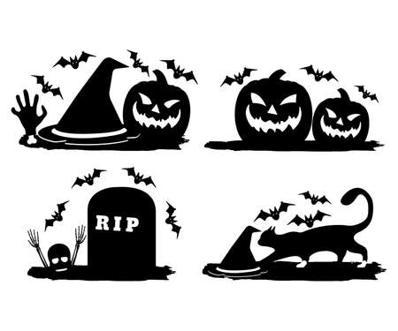 Grave with Bat and Skull, Bone, Witch Cat, Hat, Jack lantern on the Brush. Happy Halloween. Concept Label, Banner, Art, Icon. Black Simple Vector Illustration.