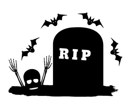 Grave with Bat and Skull, Bone. Happy Halloween. Concept Label, Banner, Art, Icon. Black Simple Vector Illustration. Иллюстрация
