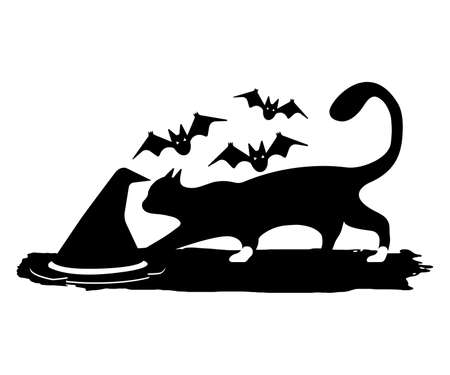 Witch Cat, Hat and Bat. Happy Halloween. Concept Label, Banner, Art, Icon. Black Simple Vector Illustration. Иллюстрация