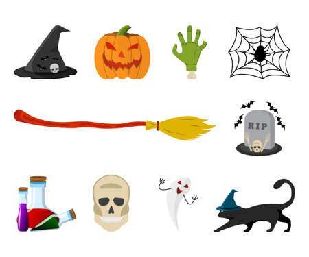 Set of Happy Halloween: Bat, Skull, Bone, Witch Cat, Hat, Jack lantern, Broom, Flask, Hand, Ghost. 10 Icon. Concept Label, Banner, Art. Cartoon Vector Illustration.