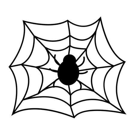 Spider on Web. Happy Halloween. Concept Label, Banner, Art, Icon. Cartoon Vector Illustration.