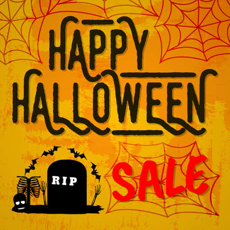 Happy Halloween Sale. Concept Label, Banner, Art, Icon. Cartoon Vector Illustration. Иллюстрация