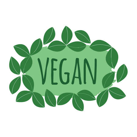 Vegan label. Healthy and Organic Food. Font with Brush. Food Intolerance Symbols and Badges. Vector illustration icon.