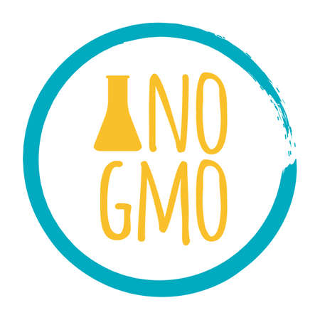 No GMO label. Healthy and Organic Food. Font with Brush. Food Intolerance Symbols and Badges. Vector illustration icon.