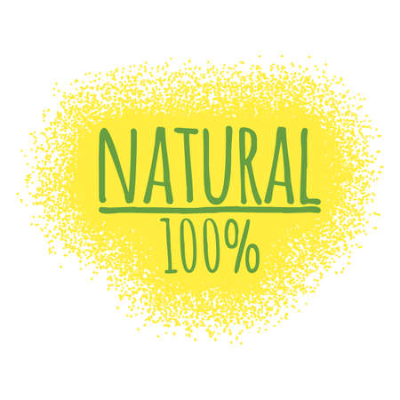 Natural 100% label. Healthy and Organic Food. Font with Brush. Food Intolerance Symbols and Badges. Vector illustration icon.