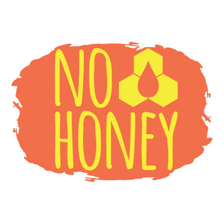No Honey label. Healthy and Organic Food. Font with Brush. Food Intolerance Symbols and Badges. Vector illustration icon. Иллюстрация