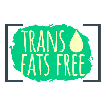 Trans Fat Free label. Healthy and Organic Food. Font with Brush. Food Intolerance Symbols and Badges. Vector illustration icon.