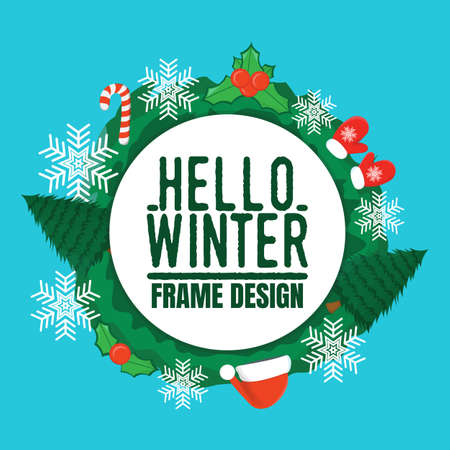 Hello Winter Frame Design Label. Winter background with Christmas tree, toy, hat, snowflake and glove. Banner, Symbol and Space for your text. Vector illustration icon.