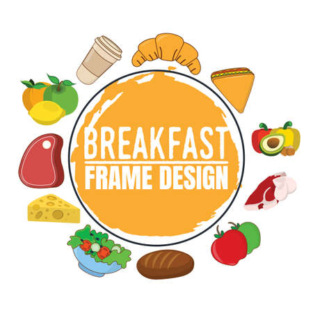 Breakfast Frame Design label. Delicious food. Font with Brush, Symbols and Badges. Vector illustration icon.