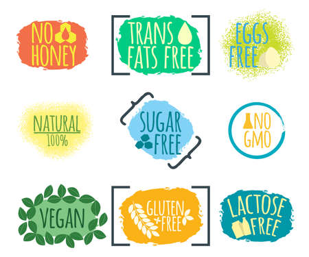 Set of Intolerance Food label. Healthy and Organic Food. Font with Brush. Food Intolerance Symbols and Badges. Vector illustration icon. Иллюстрация