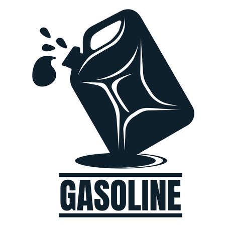 Gasoline label with Oil Drop. Oil Development and Extraction. World Petrol Production. Oil Business Symbol, Icon and Badge. Simple Vector illustration.