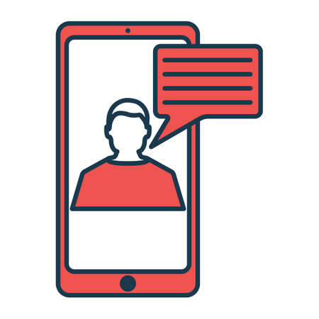 Online Chat Icon. Concept for Hi Tech. Outline Technical Symbol, Icon and Badge. Simple Vector illustration. Zdjęcie Seryjne - 130792618