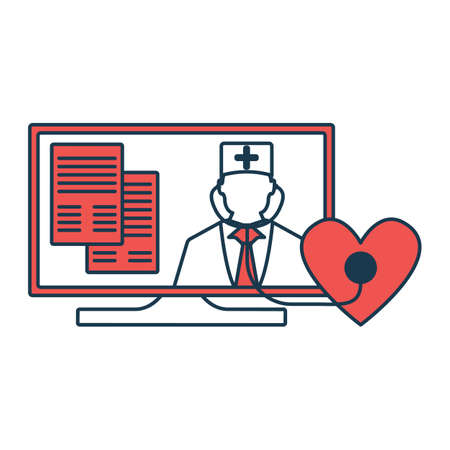 Online Doctor Icon. Concept for Healthcare Medicine and Lifestyle. Outline Virtual Doctor. Medical Symbol, Icon and Badge. Simple Vector illustration.