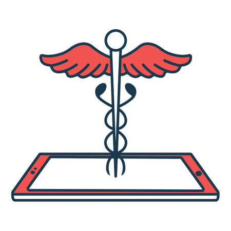 Caduceus with Smartphone Icon. Concept for Healthcare Medicine and Lifestyle. Outline Virtual Doctor. Medical Symbol, Icon and Badge. Simple Vector illustration.