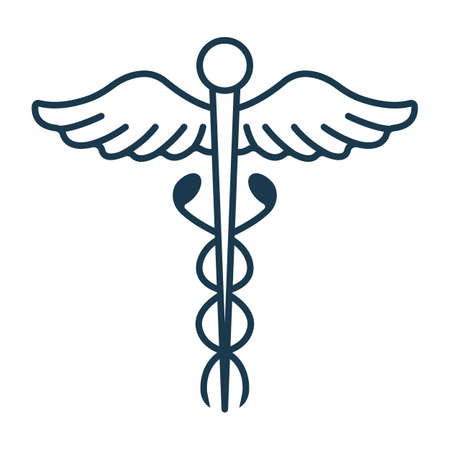 Caduceus Icon. Concept for Healthcare Medicine and Lifestyle. Outline Virtual Doctor. Medical Symbol, Icon and Badge. Simple Vector illustration.