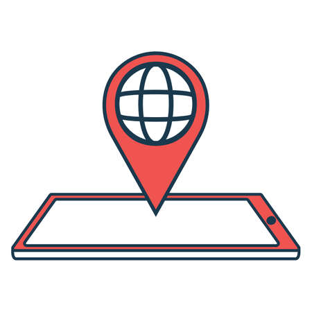 Geo Sign with Smartphone Icon. Concept for Hi Tech. Outline Technical Symbol, Icon and Badge. Simple Vector illustration. Illustration