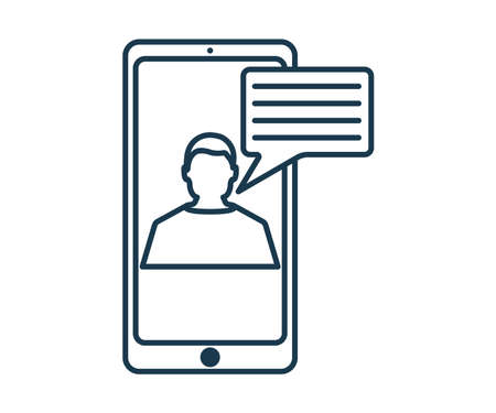 Online Chat Icon. Concept for Hi Tech. Outline Technical Symbol, Icon and Badge. Simple Vector illustration.