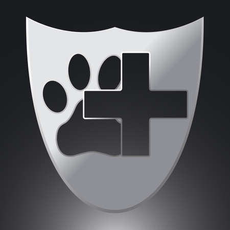 Paw and Cross Icon on Silver Background. Concept for Healthcare Medicine and Pet Care. Domestic Animal. Pets Symbol, Icon and Badge. Simple Vector illustration. Illustration