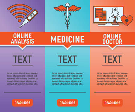 Online Medicine Banners. Concept for Healthcare Medicine and Lifestyle. Outline Virtual Doctor. Medical Symbol, Icon and Badge. Simple Vector illustration.