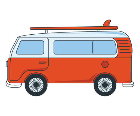 Travel Car Icon. Concept for Outdoor and Hike Trip. Cartoon Style. Travel Symbol, Icon and Badge. Simple Vector illustration. Ilustração