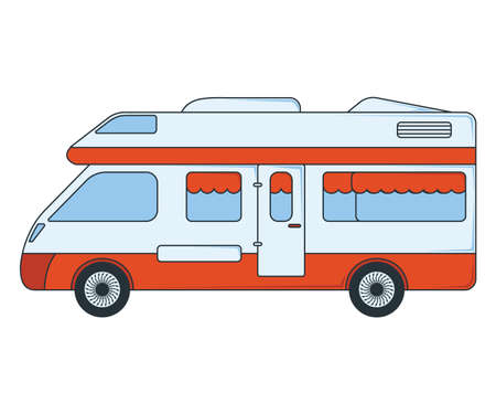 House on wheels Icon. Concept for Outdoor and Hike Trip. Cartoon Style. Travel Symbol, Icon and Badge. Simple Vector illustration.