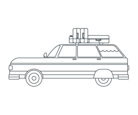 Travel Car Icon. Concept for Outdoor and Hike Trip. Outline Style. Travel Symbol, Icon and Badge. Simple Vector illustration.