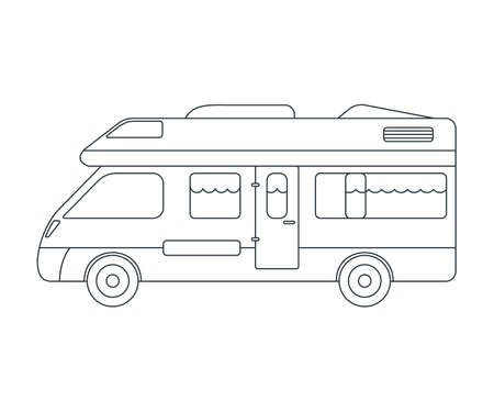 House on wheels Icon. Concept for Outdoor and Hike Trip. Outline Style. Travel Symbol, Icon and Badge. Simple Vector illustration. Ilustração