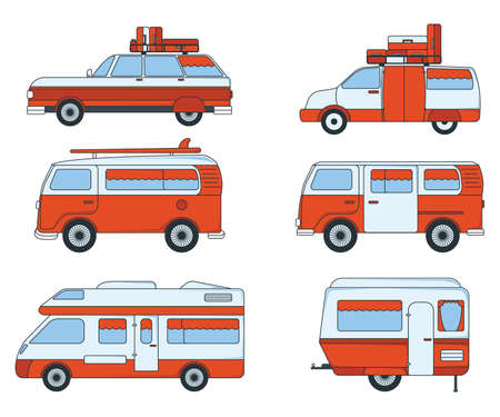Set of Travel Car Icon. Concept for Outdoor and Hike Trip. Cartoon Style. Travel Symbol, Icon and Badge. Simple Vector illustration. Ilustração