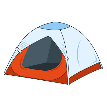 Camping Tent Icon. Concept for Outdoor and Hike Trip. Stuff for Survival. Cartoon Style. Travel Symbol, Icon and Badge. Simple Vector illustration.