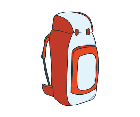 Camping Backpack Icon. Concept for Outdoor and Hike Trip. Stuff for Survival. Cartoon Style. Travel Symbol, Icon and Badge. Simple Vector illustration.  イラスト・ベクター素材