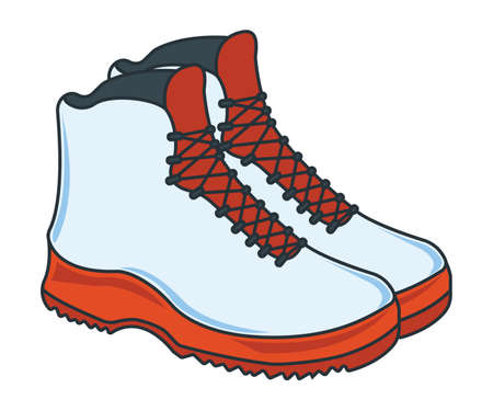 Camping Shoes Icon. Concept for Outdoor and Hike Trip. Stuff for Survival. Cartoon Style. Travel Symbol, Icon and Badge. Simple Vector illustration.
