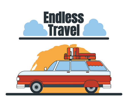 Endless Travel Car Icon. Concept for Outdoor and Hike Trip. Outline and Cartoon Style. Travel Symbol, Icon and Badge. Simple Vector illustration.