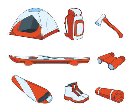 Set of Camping Icon. Concept for Outdoor and Hike Trip. Stuff for Survival. Cartoon Style. Travel Symbol, Icon and Badge. Simple Vector illustration.