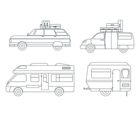 Set of Travel Car Icon. Concept for Outdoor and Hike Trip. Outline Style. Travel Symbol, Icon and Badge. Simple Vector illustration. Ilustração