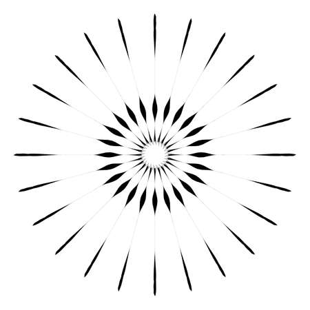 Retro Sun Burst Shape. Vintage logo, labels, badges. Vector design element isolated. Minimal black firework burst.