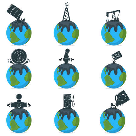 Oil Pollution Concept Icon and Label. Earth Pollution by Petroleum. Technogenic Catastrophe Symbol, Icon and Badge. Cartoon Vector illustration.