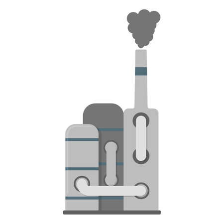 Factory Icon. Factory CO2, Pollution Symbol, Icon and Badge. Cartoon Vector illustration.