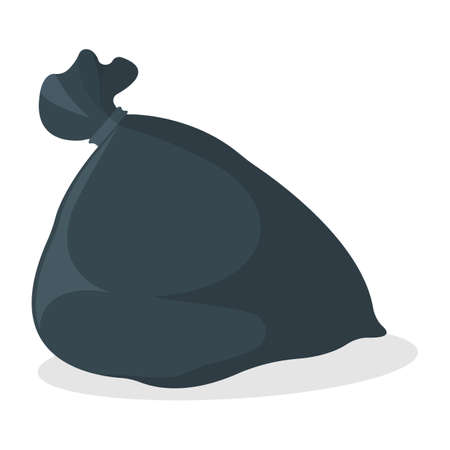 Trash Bag Icon. Black Garbage Bag on white Background. Symbol, Icon and Badge. Cartoon Vector illustration.
