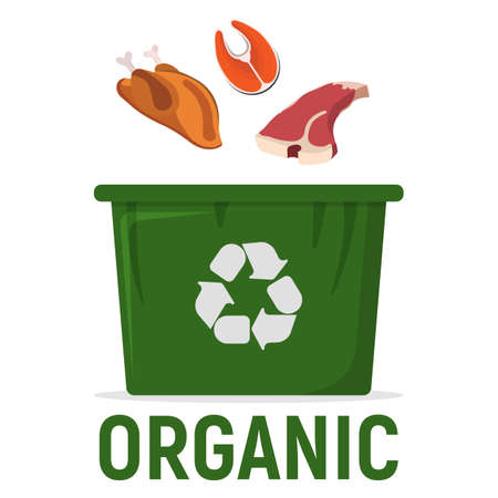 Container for Recycling Waste Sorting - Organic. Waste, Trash Disposal and Recycling Web, Banner for Web and Smartphone. Simple and Cartoon Vector Illustration. Ilustração